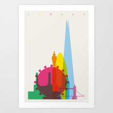 Shapes of London. Accurate to scale Art Print