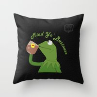 Mind Yo Business Throw Pillow