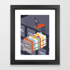 Diving into papers Framed Art Print