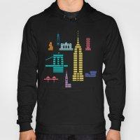 New York Skyline Empire State Poster Black Hoody