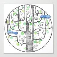 Happy Tree (black And Gr… Canvas Print