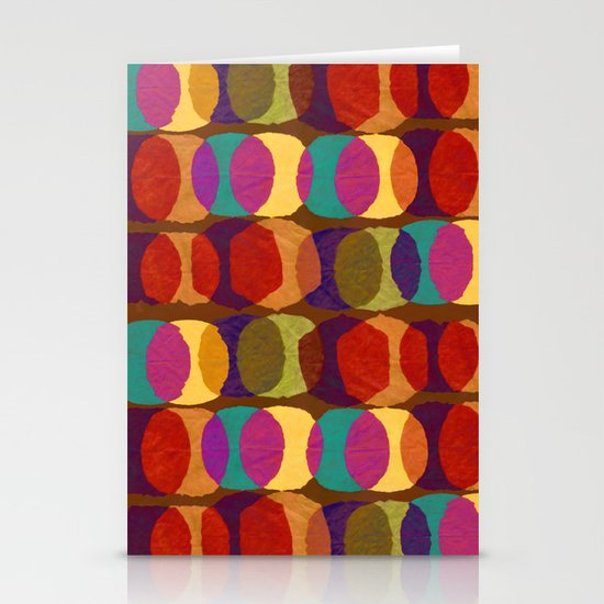 Collage and digital circle pattern Stationery Card