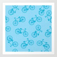 Blue Bicycle Pattern Art Print
