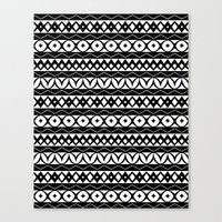 Fair Isle Black & White Canvas Print