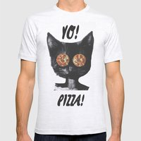Pizza cat Mens Fitted Tee Ash Grey SMALL