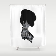 Little Houses Silhouette Shower Curtain