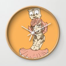 Girl in Skirt with Owl on Head by RonkyTonk Wall Clock