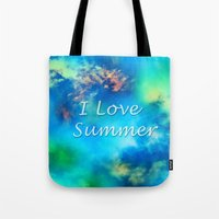 Cosmic clouds in bluel I love Summer Tote Bag