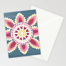 Suzani inspired floral blue 2 Stationery Cards