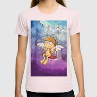 Angel boy on a swing Womens Fitted Tee Light Pink SMALL