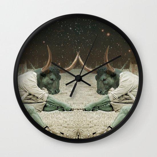 locking horns under Taurus Wall Clock