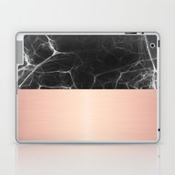 Black Marble And Pink  Laptop & iPad Skin