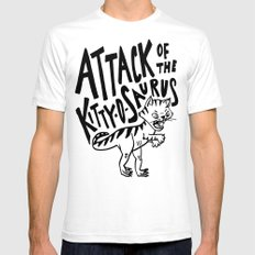 The Attack of Kitty-o-Saurus! SMALL Mens Fitted Tee White