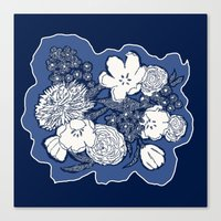 Placed Floral: Navy Comb… Canvas Print