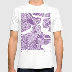 Boston Map Lilac Mens Fitted Tee White SMALL