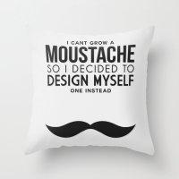 Digital Moustache. Throw Pillow