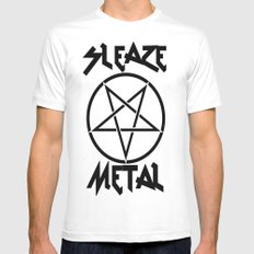 SLEAZE METAL White SMALL Mens Fitted Tee