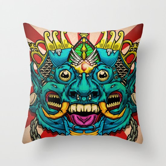 Justice Barong Mask Throw Pillow