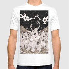 Cosmic horror party SMALL Mens Fitted Tee White