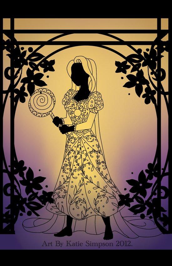 Silhouette Rapunzel Art Print