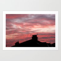 Winter sunset over London Art Print