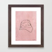One Line Porco Rosso Red Framed Art Print