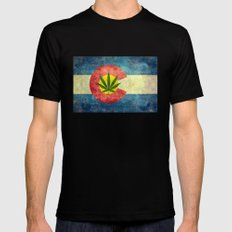 Retro Colorado State flag with the leaf - Marijuana leaf that is! Mens Fitted Tee Black SMALL
