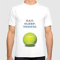 Eat. Sleep. Tennis. (Whi… Mens Fitted Tee White SMALL