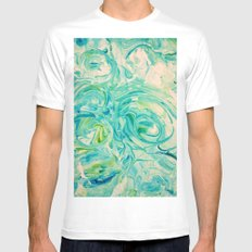 marbling twirl Mens Fitted Tee SMALL White