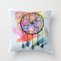 Catching Paint - Dream Catcher Throw Pillow