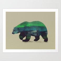 Polar Bear in Northern Lights Art Print
