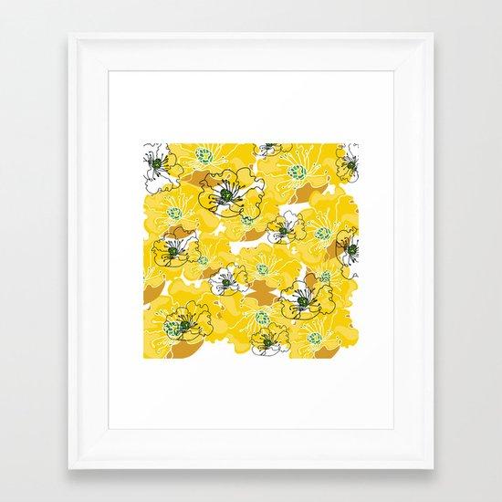 yellow marzipan flowers Framed Art Print