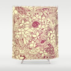 Yellow square, pink floral doodle, zentangle inspired art pattern Shower Curtain