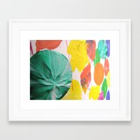 Acryl colored dots Framed Art Print