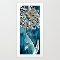 Flower Paintings: Lace Flower Art Print