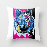 Lazer Wolf Throw Pillow