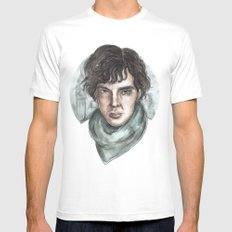 Sherlock Holmes Mens Fitted Tee SMALL White
