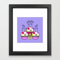 Cute Monster With Pink A… Framed Art Print