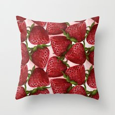 Strawberries pattern Throw Pillow