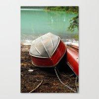Emerald lake Boat Canvas Print