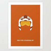 Star Wars Minimalism - Red Five Art Print