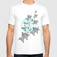 FISH Mens Fitted Tee White SMALL