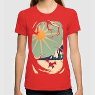 Fox Roaming Around II Womens Fitted Tee Red LARGE