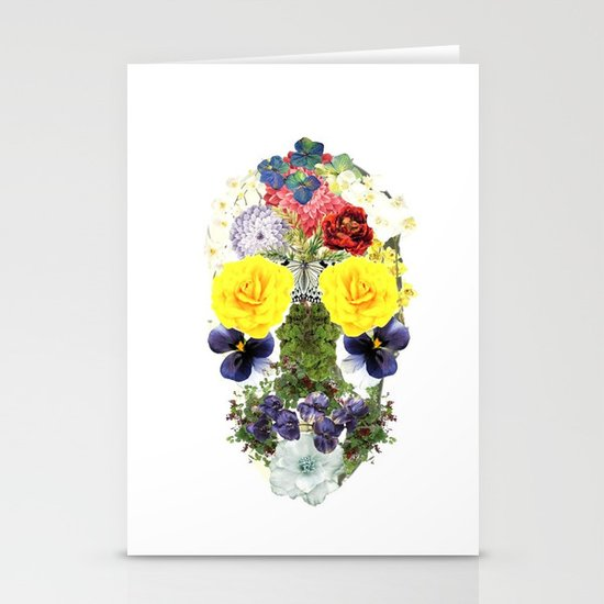 Skull Flowers Stationery Card