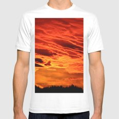Flame Coloured Sunset Sky White Mens Fitted Tee SMALL