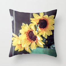 Sunflowers in my kitchen Throw Pillow