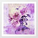 Chrysanthemum on purple Art Print