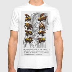 bees White SMALL Mens Fitted Tee