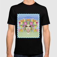 Woman Flowers Colors Mens Fitted Tee Black SMALL