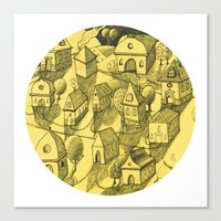 Moonlit Village Canvas Print